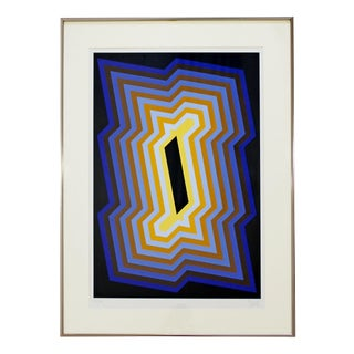 Mid Century Modern Framed Op Pop Art Lithograph Signed Yvaral Vasarely 1970s For Sale