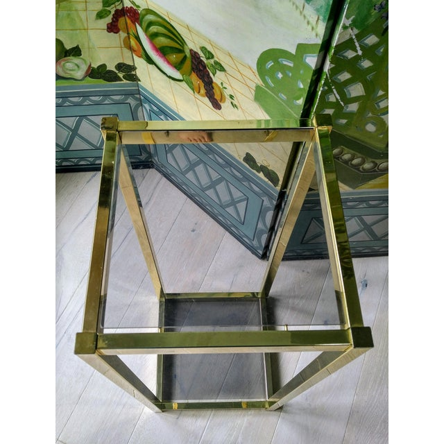 Brass & Glass Shelf Pedestal For Sale In Charleston - Image 6 of 8