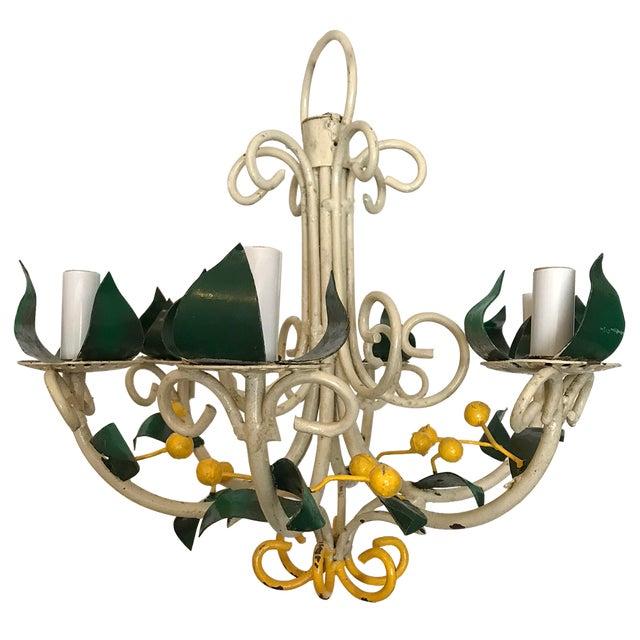 Vintage tole floral chandelier chairish vintage tole floral chandelier image 9 of 9 aloadofball Choice Image