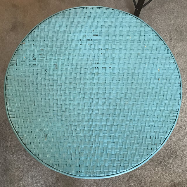 Boho Chic Vintage Boho Chic Wicker and Rattan Side Table For Sale - Image 3 of 8