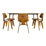 Image of Vintage c. 1950 Charles and Ray Eames for Herman Miller DTW-3 Table and Set of 4 DCW Dining Chairs For Sale