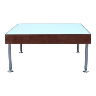 Modern Coalesse and Steelcase Sidewalk Glass Top Square Coffee Table or Ottoman For Sale