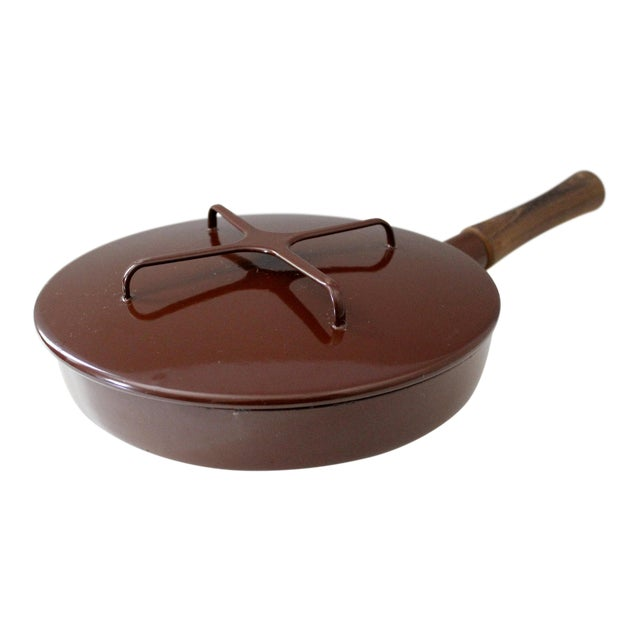 Large Brown Dansk Kobenstyle Enamel Skillet Frying Pan With Lid Jens Quistgaard For Sale