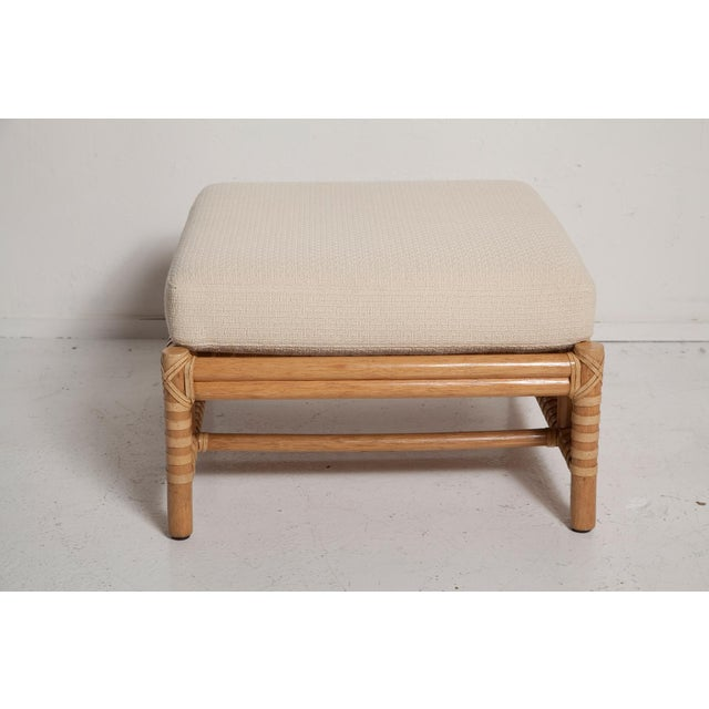 McGuire Vintage Woven Leather Armchair and Ottoman Set by McGuire For Sale - Image 4 of 13