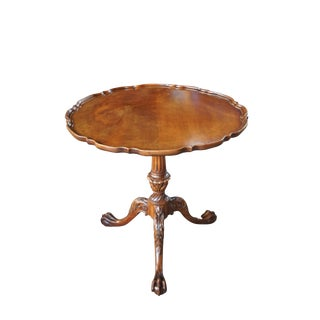 1940s Chippendale Carved Mahogany Side Table For Sale