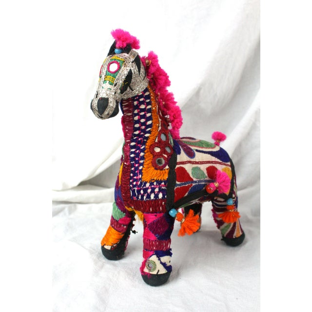 Mid 20th Century 1950s Boho Chic Pink Embroidered Accent Rajasthani Horse For Sale - Image 5 of 5