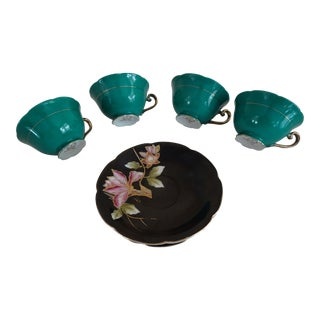 Ohashi Green, Black & Gold Lotus Flowers Porcelain Cups & Saucers - Set of 4
