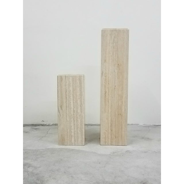 Art Deco Pair of Square Vintage Italian Travertine Tiered Display Pedestals For Sale - Image 3 of 6