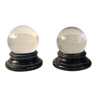 Glass Orbs on Antiqued Custom Wood Bases - a Pair For Sale