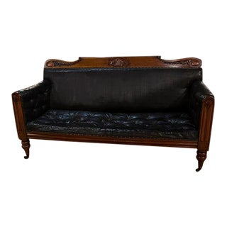 Late 19th Century William IV Mahogany Framed Leather Sofa For Sale