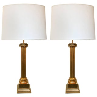 Brass Neo Classical Column Lamps by Jordan - A Pair For Sale