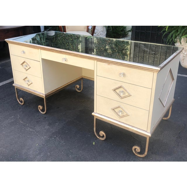 Vintage Art Deco Mirror Top Vanity Desk For Sale - Image 4 of 6