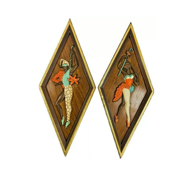 Mid Century Kitsch Turner Nubian Harlequin Jester Wall Art - A Pair For Sale In New Orleans - Image 6 of 6