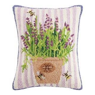 """Lavender Bees Hook Pillow, 16"""" x 20"""" For Sale"""