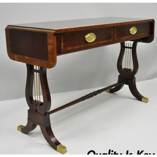 Baker Banded Mahogany Dropleaf Hall or Sofa Table For Sale - Image 13 of 13