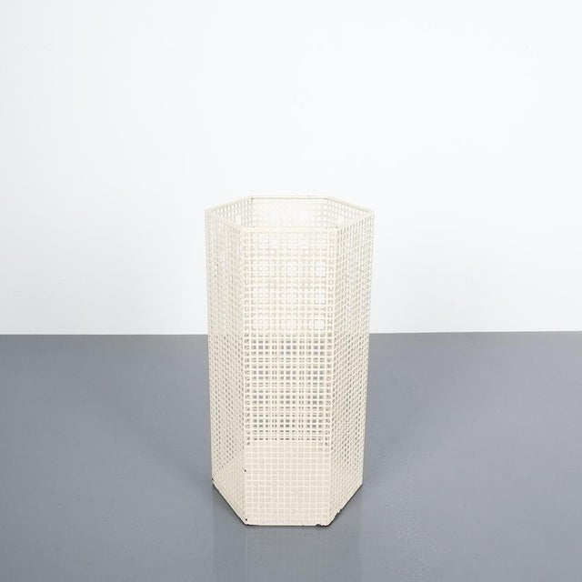 """Josef Hoffmann umbrella stand for Bieffeplast, Italy, circa 1980. Measuring 19.29"""" in heigth. White lacquered metal. It..."""