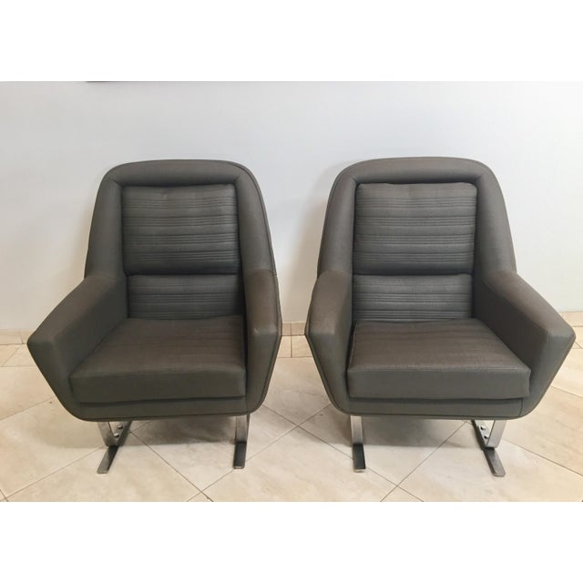Augusto Bozzi 1970s Modernist Cantilever Club Lounge Chairs by Augusto Bozzi - a Pair For Sale - Image 4 of 12