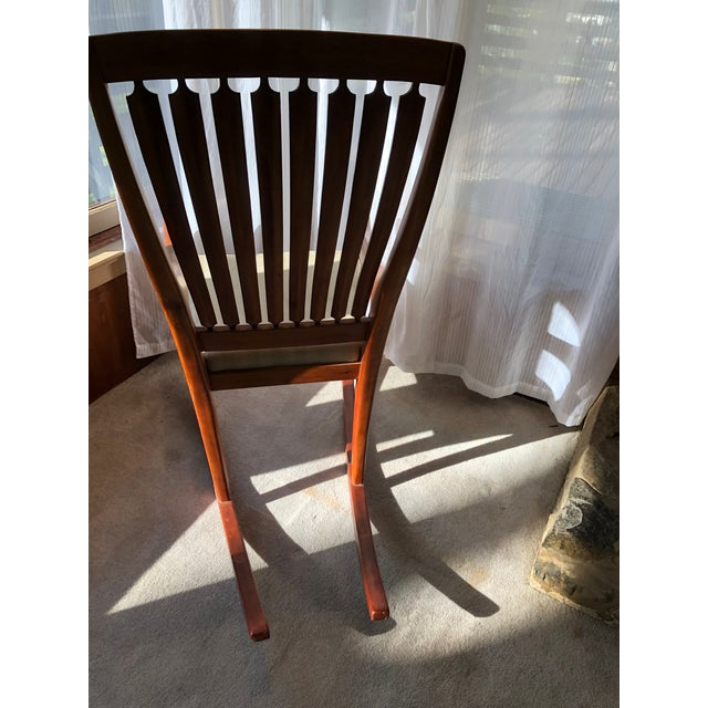 Mid-Century Modern Traditional Cherry and Walnut Rocking Chair For Sale - Image 4 of 13