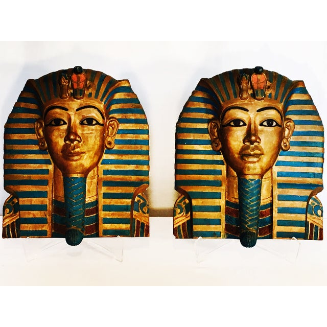 King Tut Plaques on Lucite Stands - A Pair - Image 2 of 6