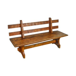 Antique Rustic Arts & Crafts Bench Settee For Sale