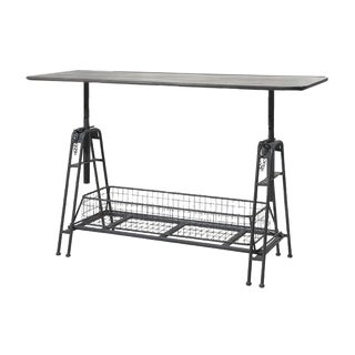 Powder Gray Iron Adjustable Metal Work Table With Shelf For Sale