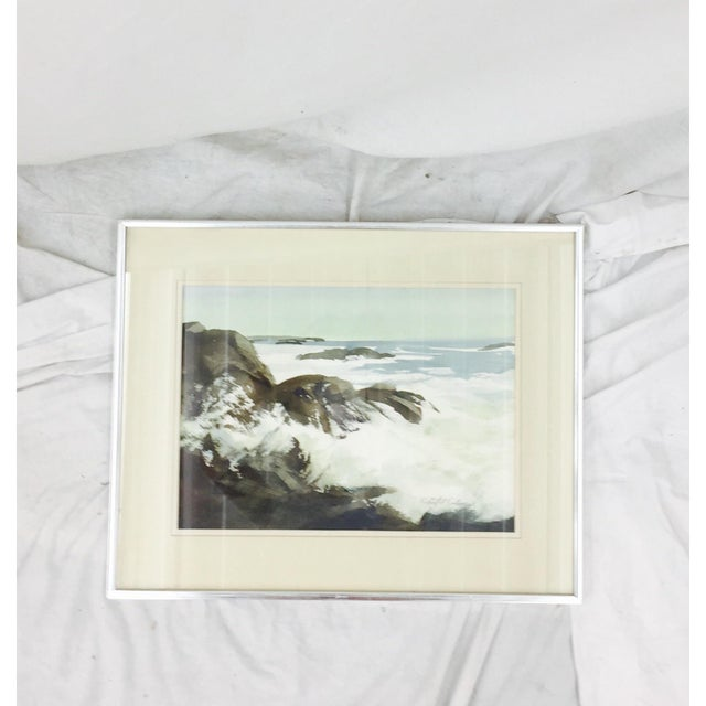 Vintage Framed Watercolor Seascape Painting - Image 5 of 8
