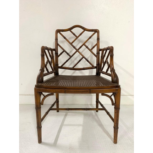 Chinese Chippendale Style Faux Bamboo Arm Chair For Sale - Image 9 of 9