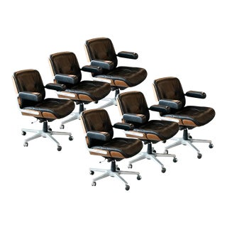 1960s Rolling Conference Chairs by Stoll for Giroflex, Germany - Set of 6 For Sale