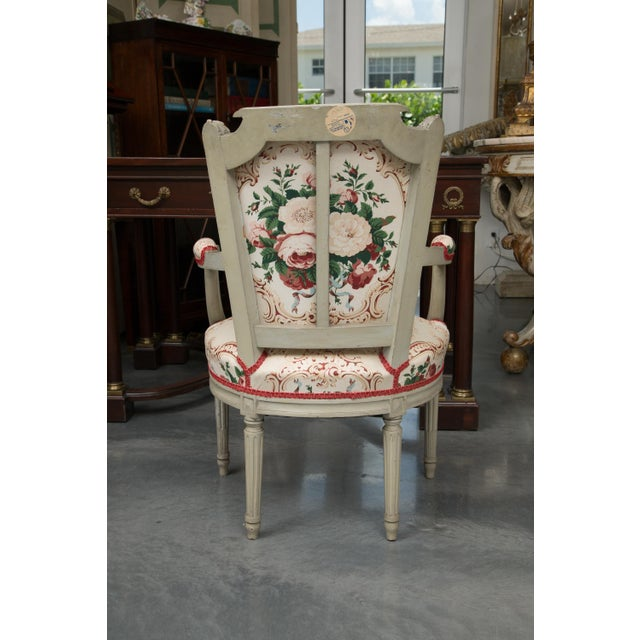 Louis XVI Style Painted Armchairs - a Pair For Sale - Image 11 of 13