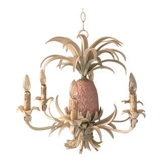 Vintage Mid-Century Modern Tole Pineapple Six Light Chandelier For Sale