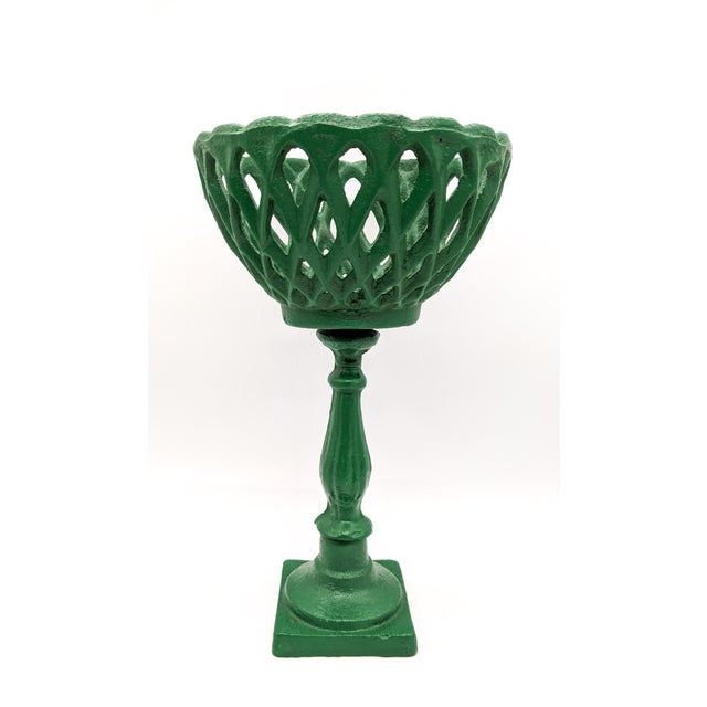 Green Large 20th Century Green Cast Iron Compotes - a Pair For Sale - Image 8 of 10