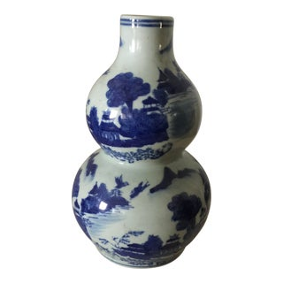 1950s Vintage Chinese Blue White Double Gourd Ceramic Vessel Jar For Sale