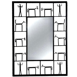 MCM Frederick Weinbery Iron Wall Mirror 1950s For Sale