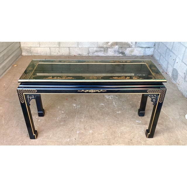 Mid 20th Century Hollywood Regency Chinoiserie Fretwork Console Table For Sale - Image 5 of 10