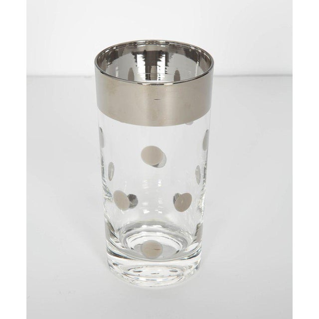 1960s Set/10 Mid Century Barware Glasses With Polka Dot Design by Dorothy Thorpe For Sale - Image 5 of 6