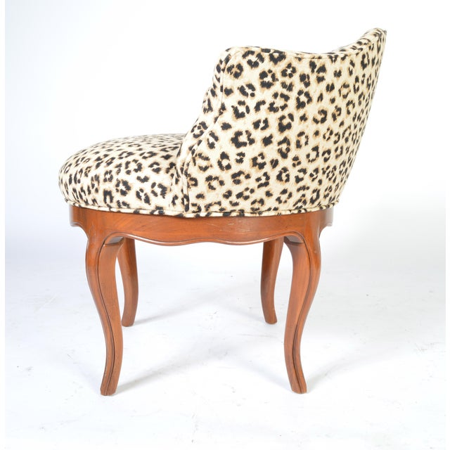 French Louis XV Style French Vanity Chair Having Cheetah Upholstery For Sale - Image 3 of 5
