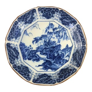 Blue & White Chinoiserie Decorative Plate For Sale