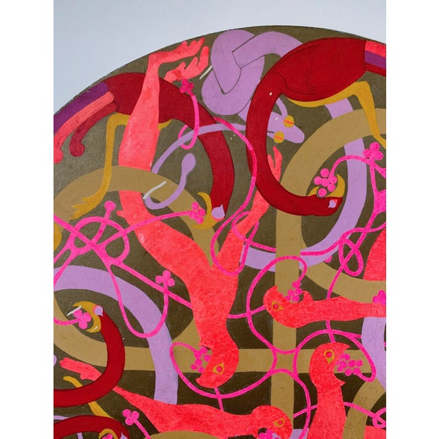 Mid-Century Modern Vintage Large Round Psychedelic Bird and Snake Painting For Sale - Image 3 of 8
