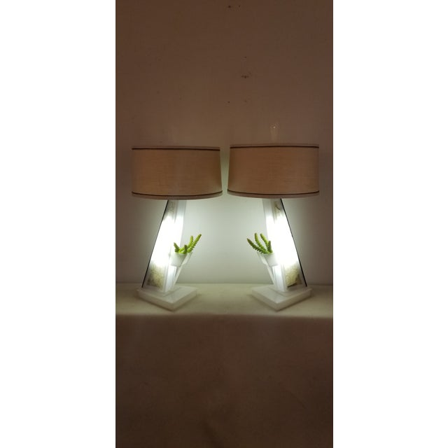 Fabulous pair of Mid Century Modern Lucite Moss Table Lamps made in San Francisco in the 1950s by Moss Lighting Co....