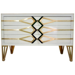 Contemporary Italian Art Deco Gold Brass, Black and Cream White Chest For Sale
