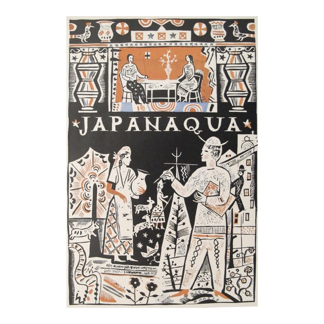 1927 German Art Deco Mini Poster, Japanaqua For Sale