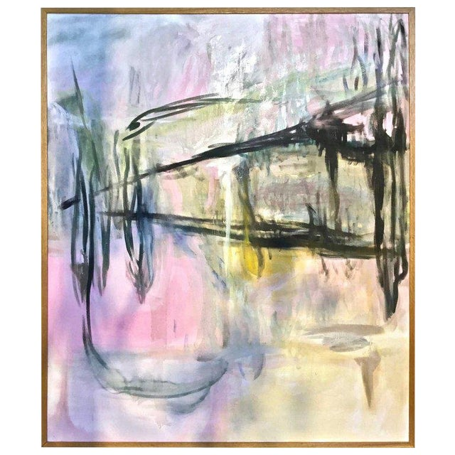 Large Scale Abstract Painting, Custom Wood Frame For Sale