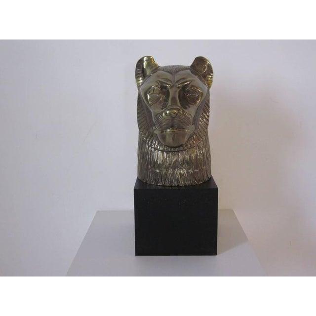 Chapman Brass Cat or Lion Head Sculpture For Sale In Cincinnati - Image 6 of 6