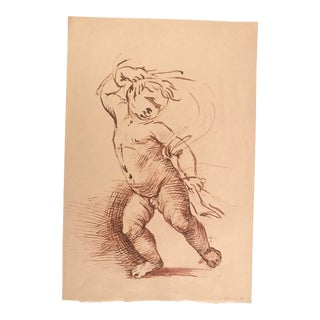 1960s Vintage Renaissance Style Baby Ink on Paper Drawing For Sale