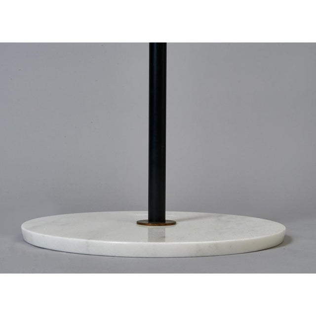 Metal Stilnovo Monumental Floor Lamp in Marble and White Glass, Italy 1950's For Sale - Image 7 of 9