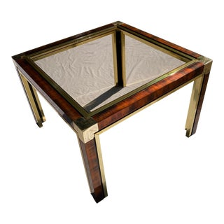 Mid-Century Modern Burl Brass and Smoked Glass Side Table Manner of Rizzo / Rega For Sale
