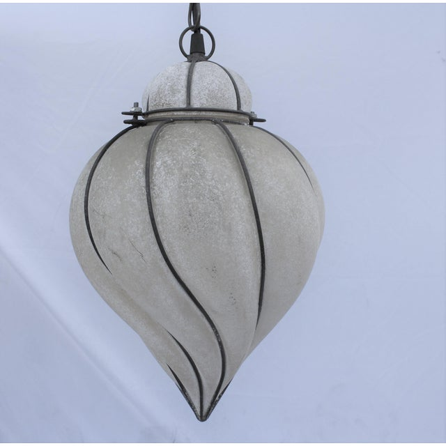 Mediterranean Italian Glass Lantern Frosted Wire Wrapped Lantern For Sale - Image 3 of 6