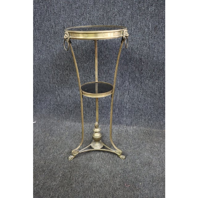 Brass Regency Style Brass & Marble Gueridon Table For Sale - Image 8 of 8