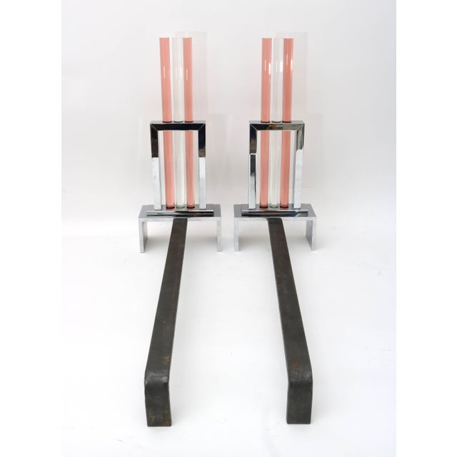 French Art Deco Fireplace Andirons in Polished Chrome and Glass For Sale - Image 9 of 11