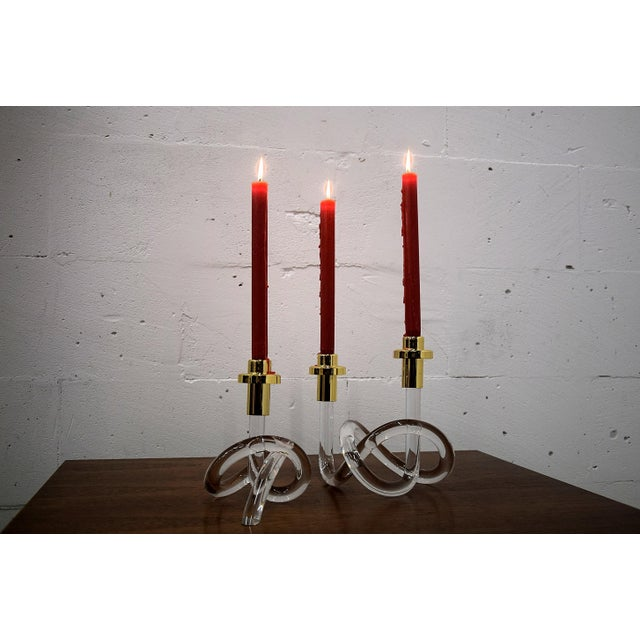Gold and Lucite Candlestick Holders by Dorothy Thorpe 1940 For Sale - Image 11 of 11